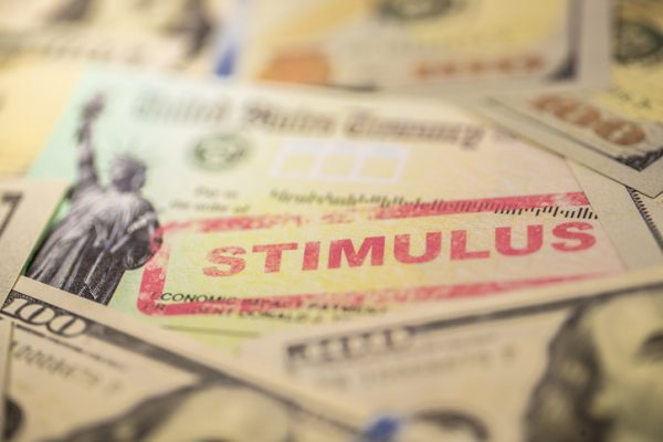A photo of the economic stimulus check that was sent to US citizens during the covid-19/coronavirus quarantine